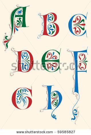 Stock Vector Medieval Alphabet Calligraphy Alphabet