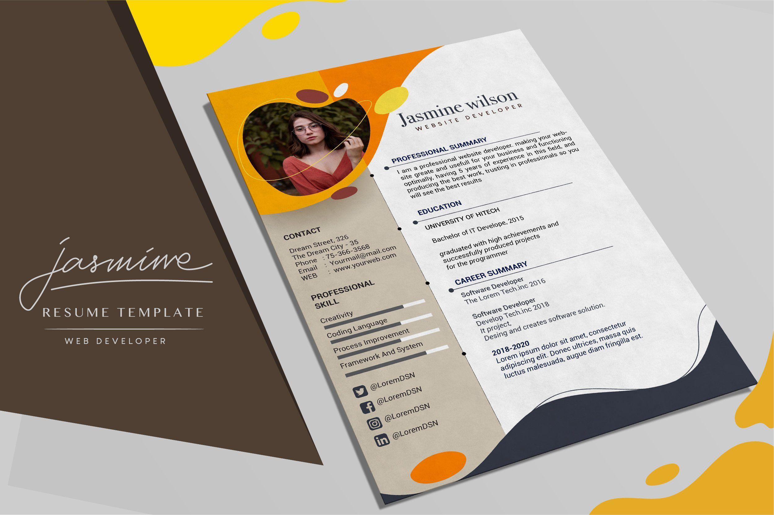 Resume Template Website Developer Resume Template Website Template Resume Design Template