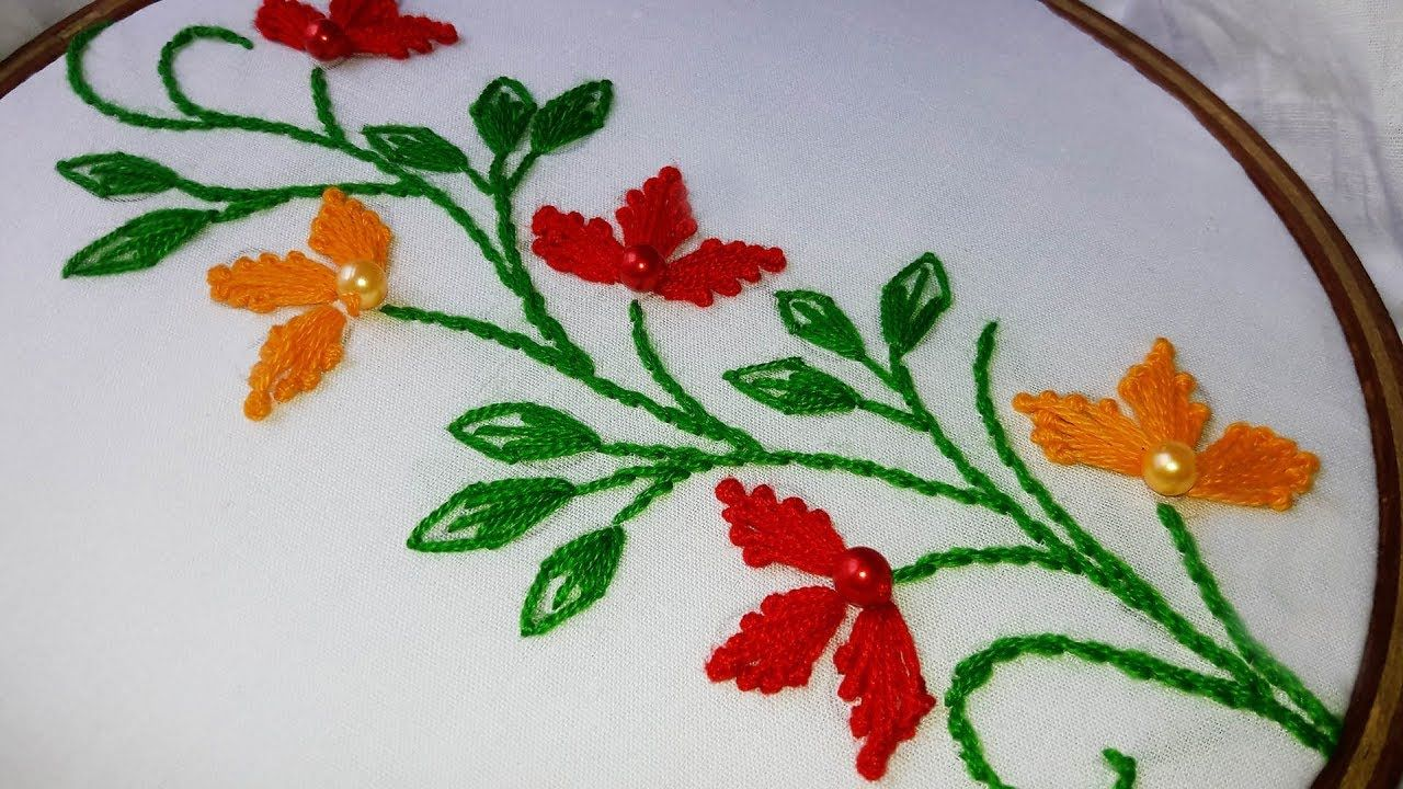 Hand Embroidery Flower Border Design For Saree Dresses Textile