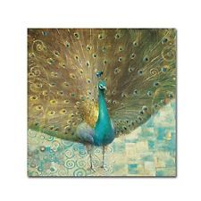 Trademark Fine Art Teal Peacock on Gold by Danhui Nai Wall Decor  14 by 14-Inch