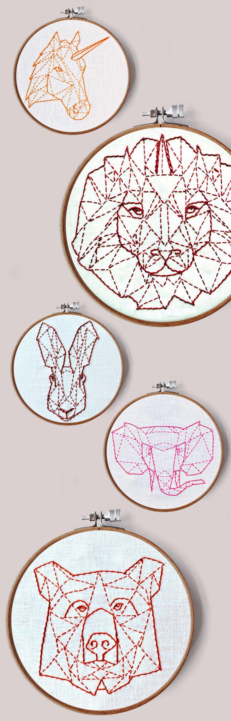 Modern Hand Embroidery Patterns Geometric Animals Beginner