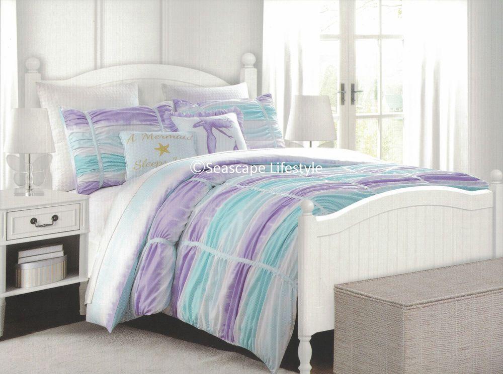 5 Pc I Love Mermaids Full Queen Ruffle Comforter Set Purple