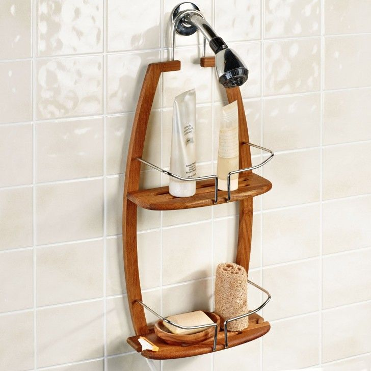 Furniture. brown wall Teak Shower Caddy with double racks on ...