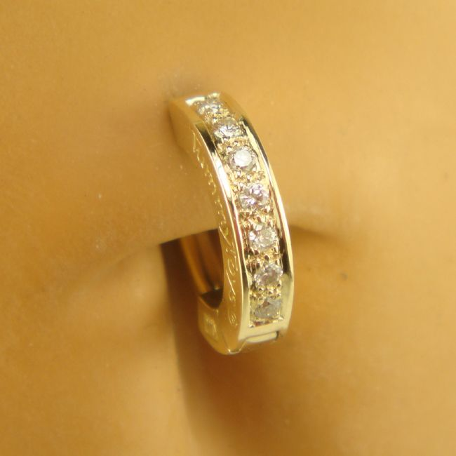 tummytoys yellow gold pave sleeper solid 14k