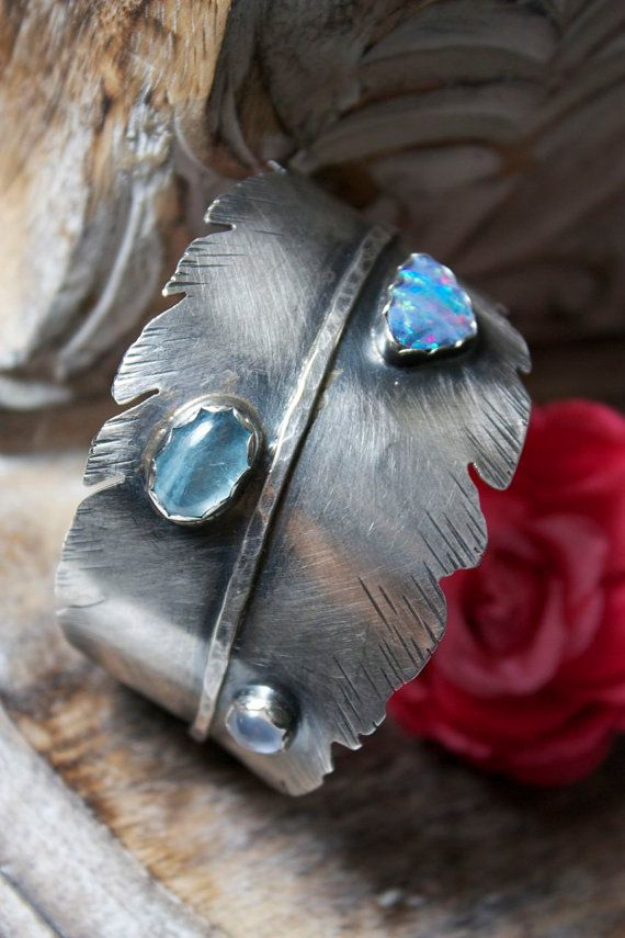 Sterling Silver Feather Bracelet, Opal, Aquamarine, Moonstone @Sue Goldberg Goldberg Goodrum