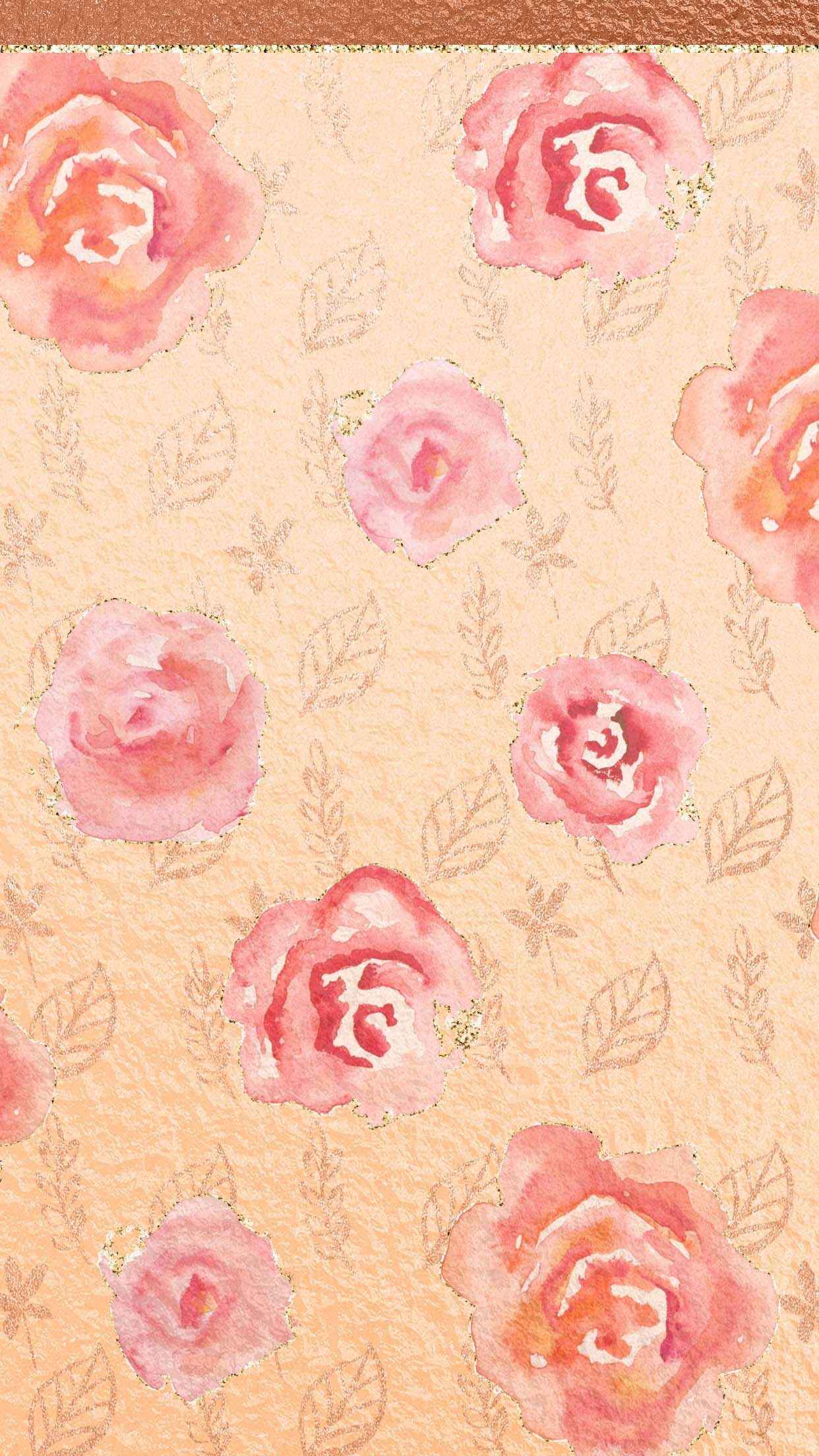 Rose Gold Flowere Cute, girly, flowers, rose gold Обои