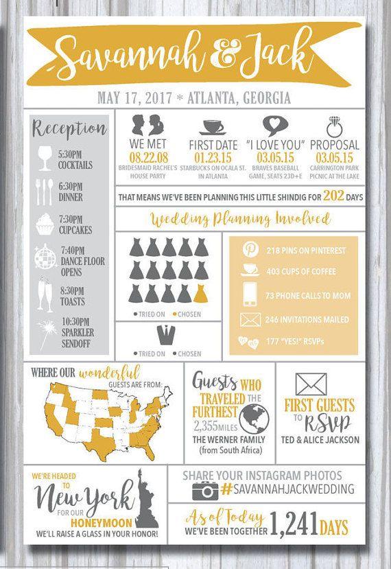 infographic wedding program printable modern fun entertaining