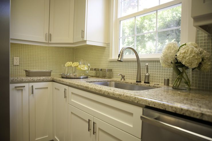 white shaker kitchen cabinets with granite countertops. Contemporary Kitchen With White Shaker Cabinets, Green Glass Mosaic Grid Tile Backsplash, Granite Countertops And Stainless Steel Appliances. Cabinets S