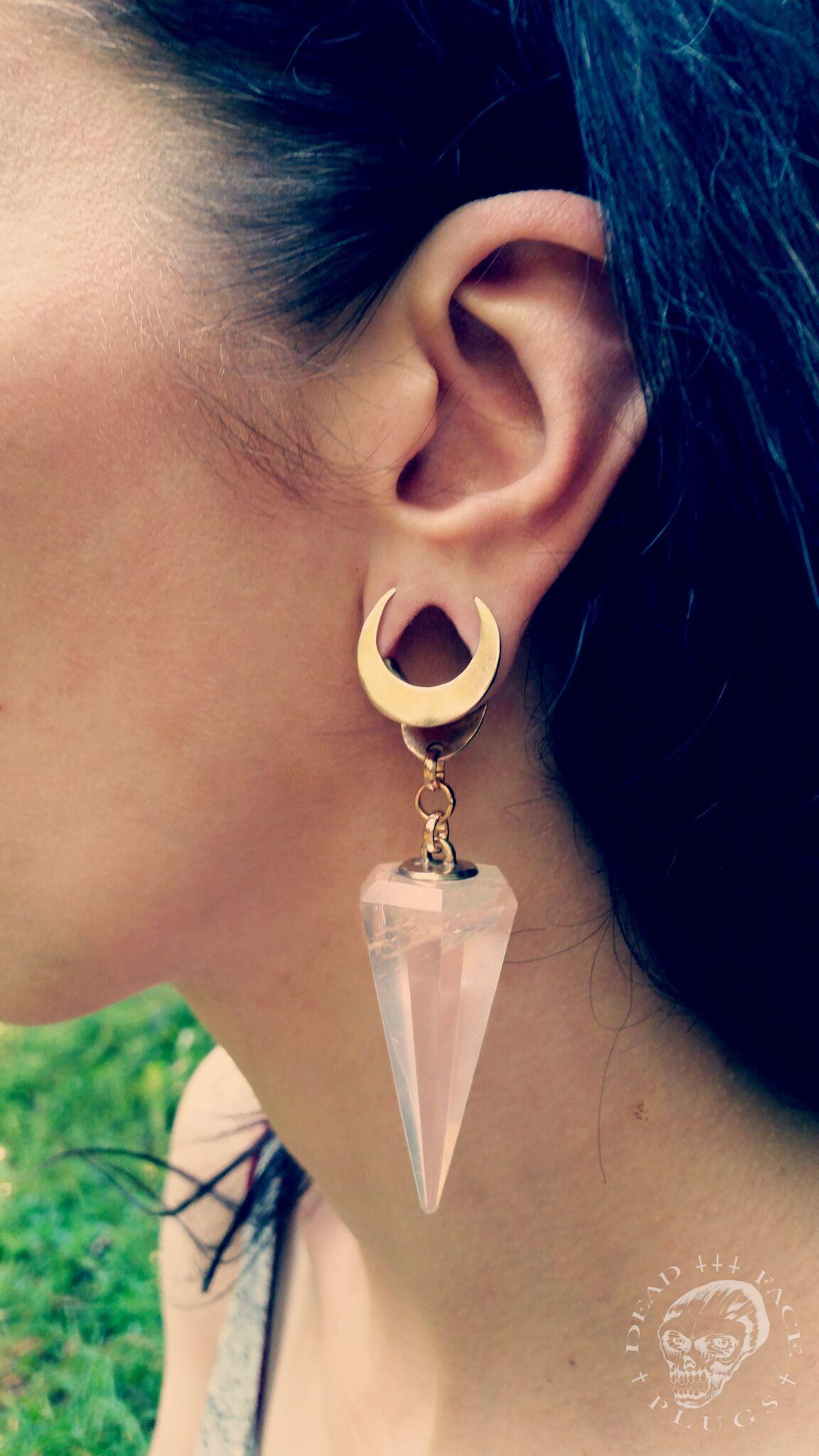 d85683b5c Moon & rose quartz ear weights - crescent moon hanging style - Thumbnail 3