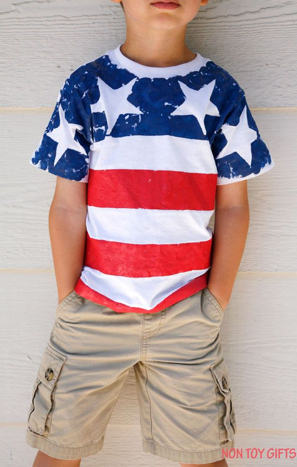 a613d2390 DIY American flag shirt for kids to make. This is an easy patriotic craft  for 4th of July, Memorial Day or Flag Day. | at Non Toy Gifts