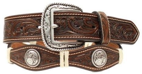 Mens Brown Leather Scalloped Belt with Praying Cowboy Conchos