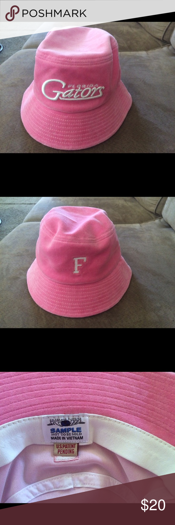 db4c17187b7 Florida Gators ladies pink velour bucket hat. Florida Gators ladies pink  velour bucket hat. No size indicated. Tag states sample. I purchased hat at  sports ...