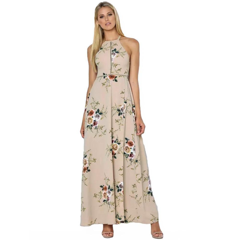 Maxi backless floral print high split women boho dress products