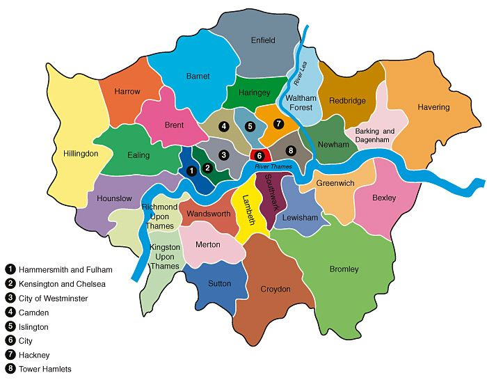 Figure Map Of London Boroughs Showing The Course Of The River - London map of boroughs