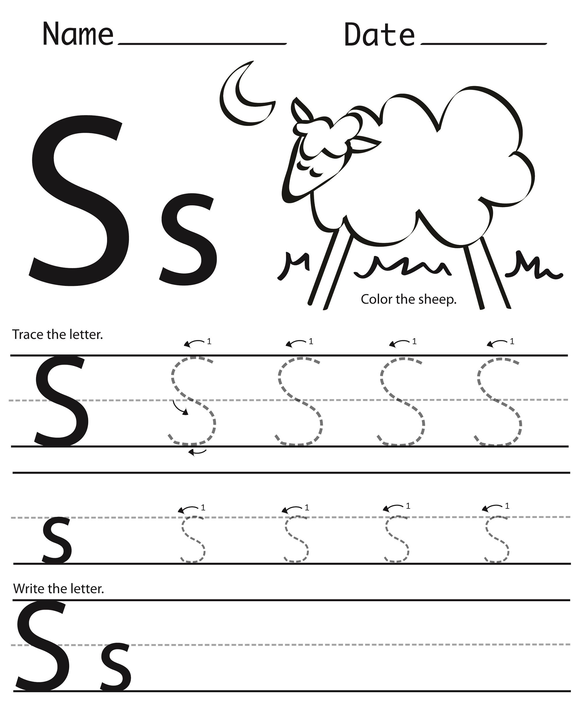 Free Printable S Worksheets In