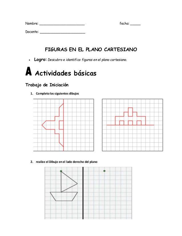 Nombre Fecha Docente Figuras En El Plano Cartesiano Logro Des El Plano Cartesiano Planos Figuritas