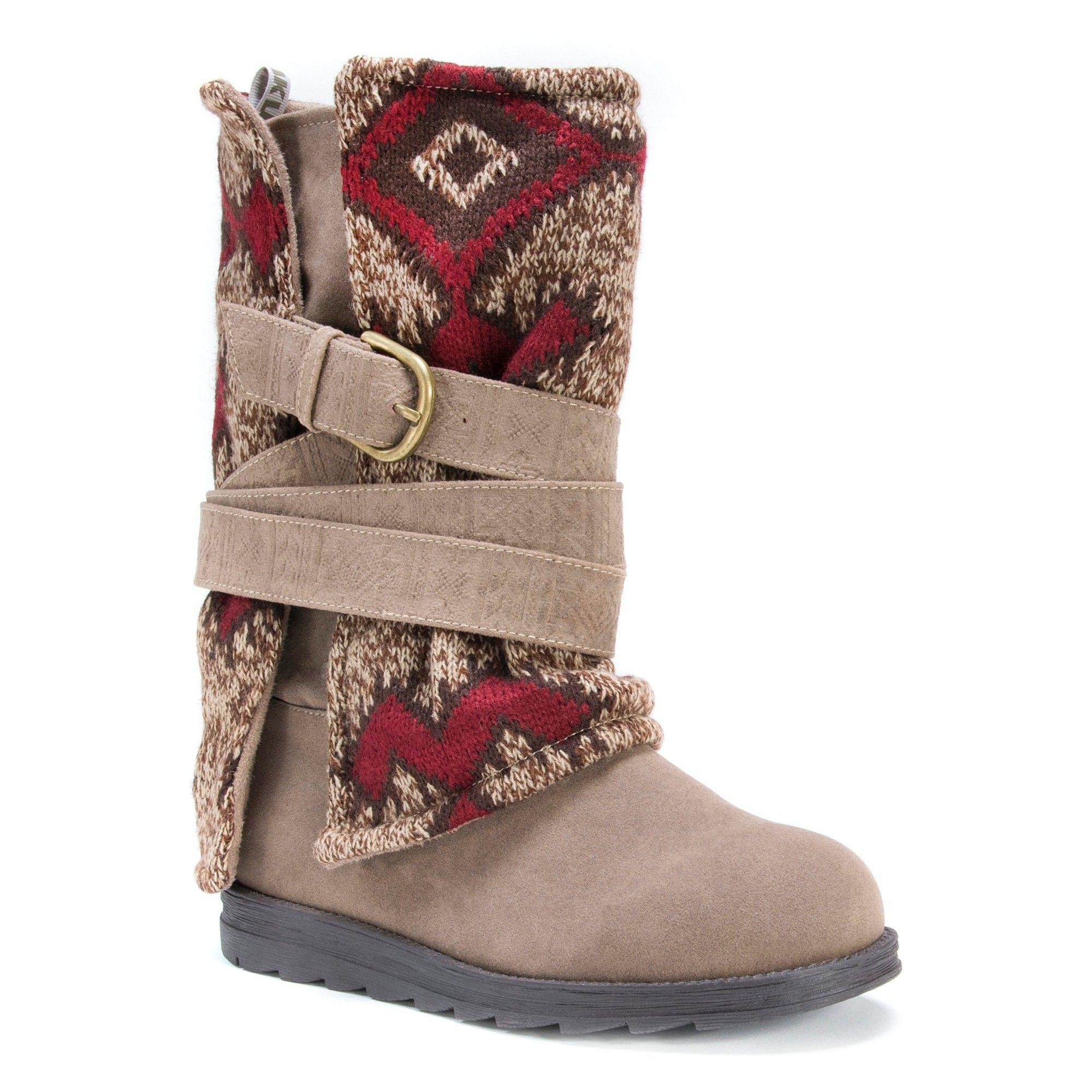 b0deae07e46 Women's Muk Luks Nevia Multi Strap Sweater Boots - Brown 7 ...