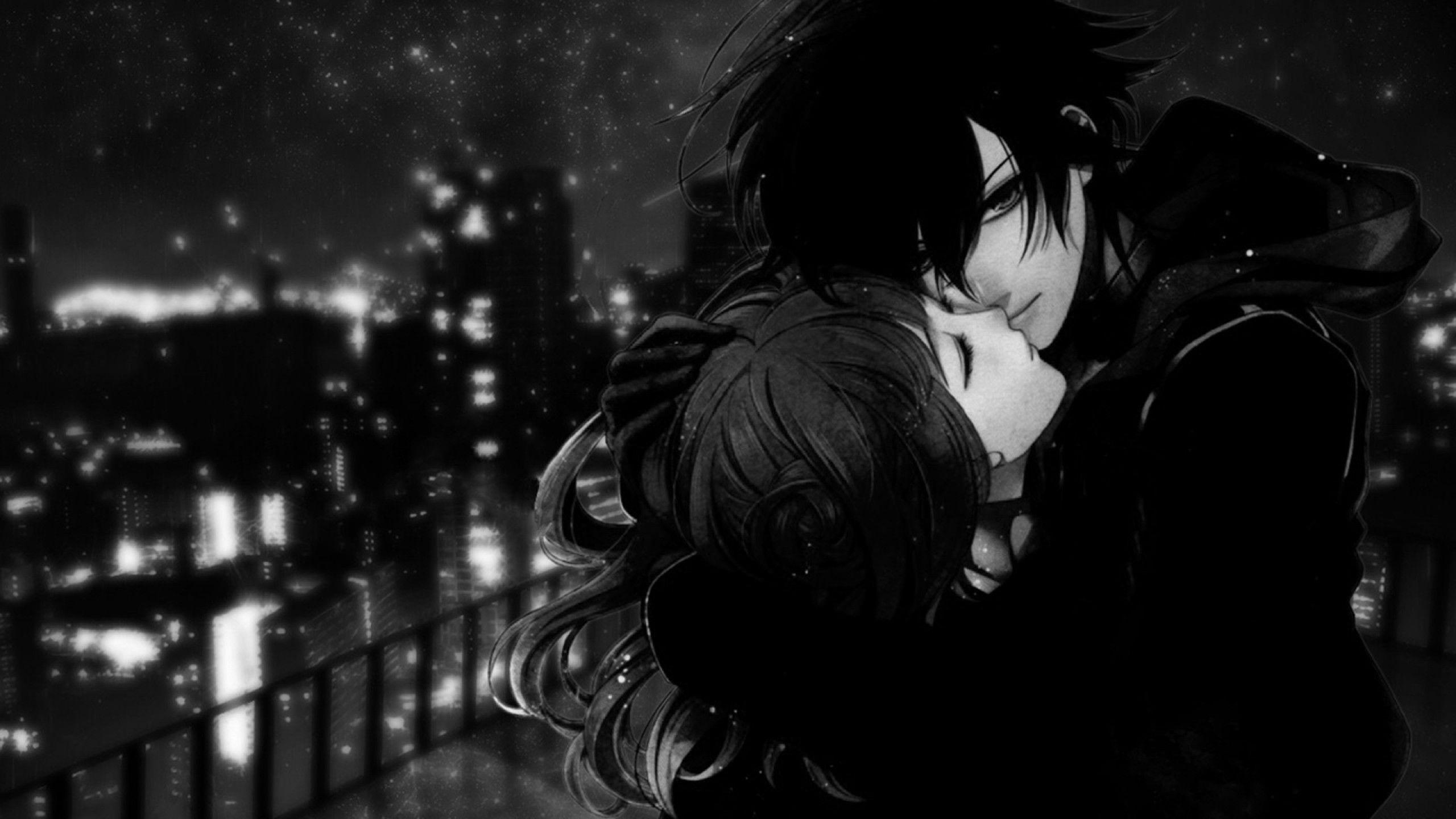 2560x1440 Black White Anime Love Picture 7454 Wallpaper Chibi