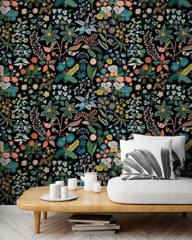 Tropical Jungle Wallpaper Wallpaper Amovible Fond Decran Etsy Removable Wallpaper Jungle Wallpaper Tropical Wallpaper