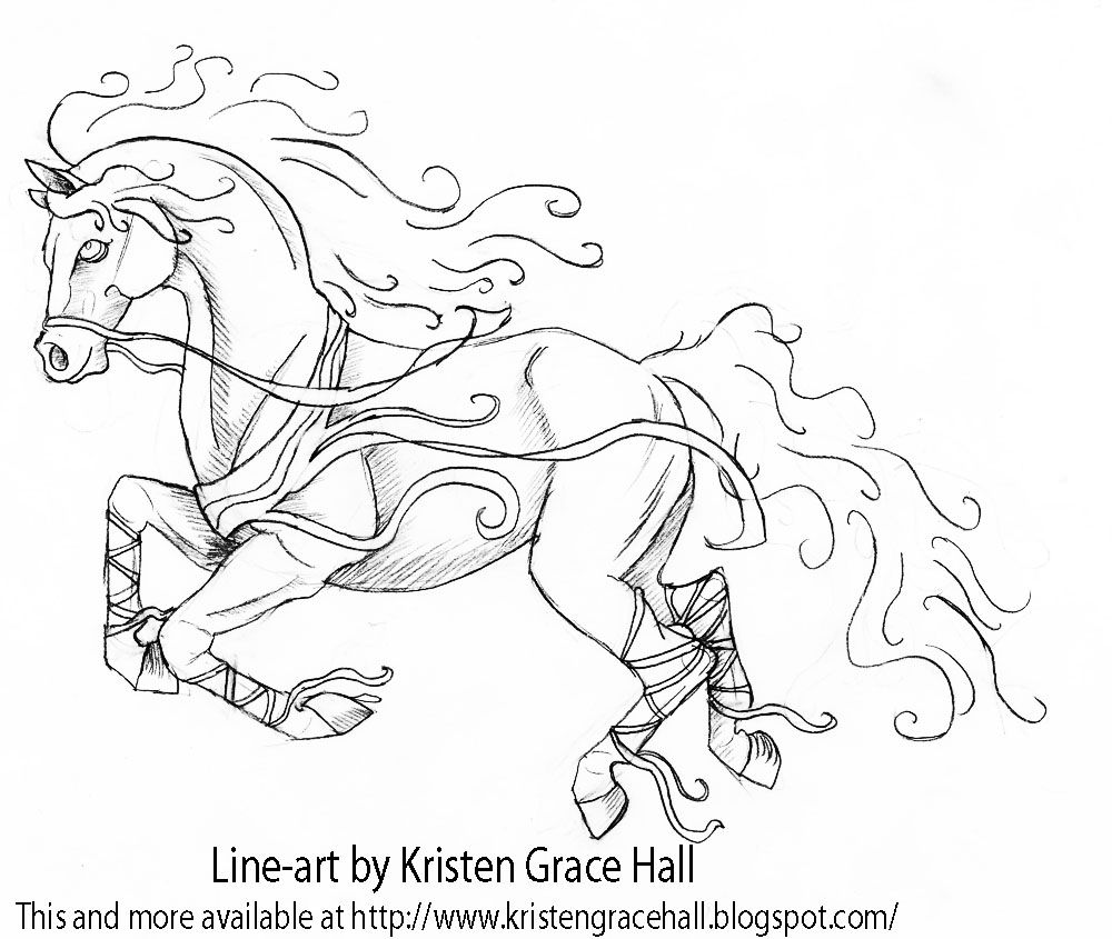 Coloring pages of horses - Horse Mustang Horse Coloring Pages