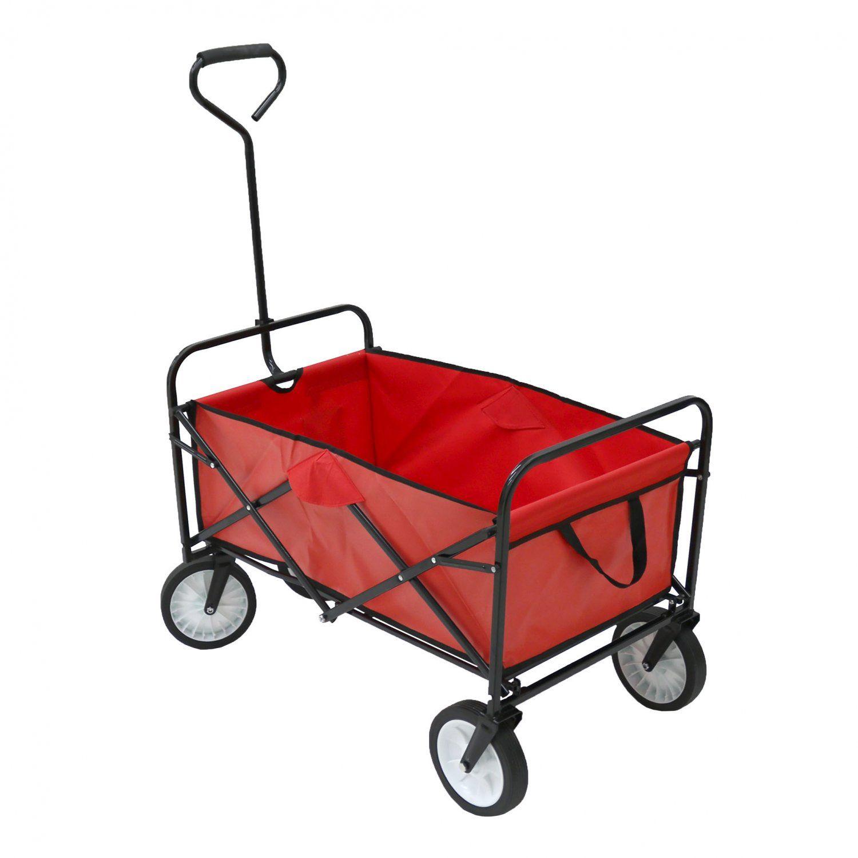 Red Heavy Duty Foldable Garden Trolley Cart Wagon Truck Trolley Cart Wheelbarrow Folding Wagon