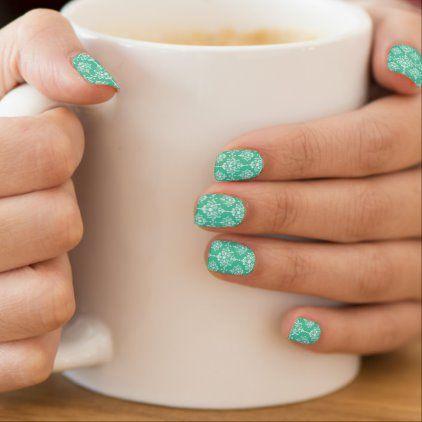 Elegant Biscay Green and White Damask Pattern Minx Nail Art | Zazzle.com