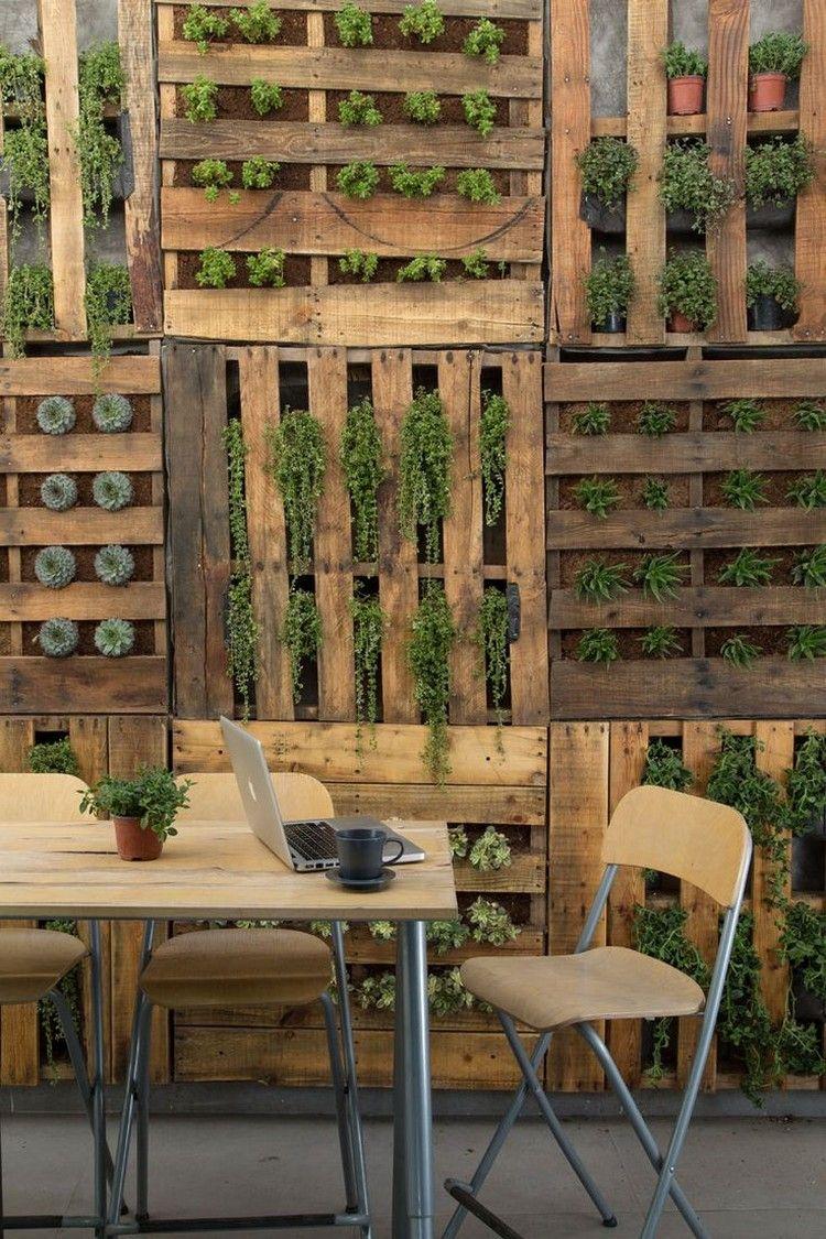 Palettenmoebel Selber Bauen Wandgestaltung Vertikaler Garten Sukkulenten