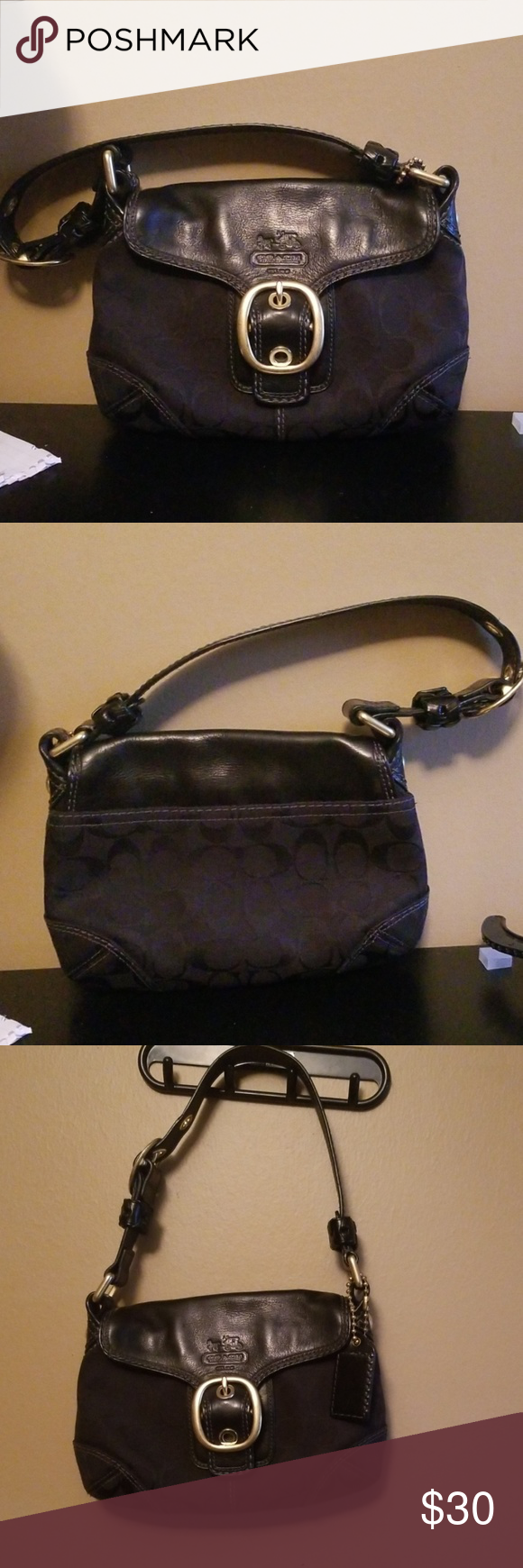 Coach Purse Cute Black with gold hardware Coach Purse Gently used  See pictures for measurements Coach Bags #myposhpicks