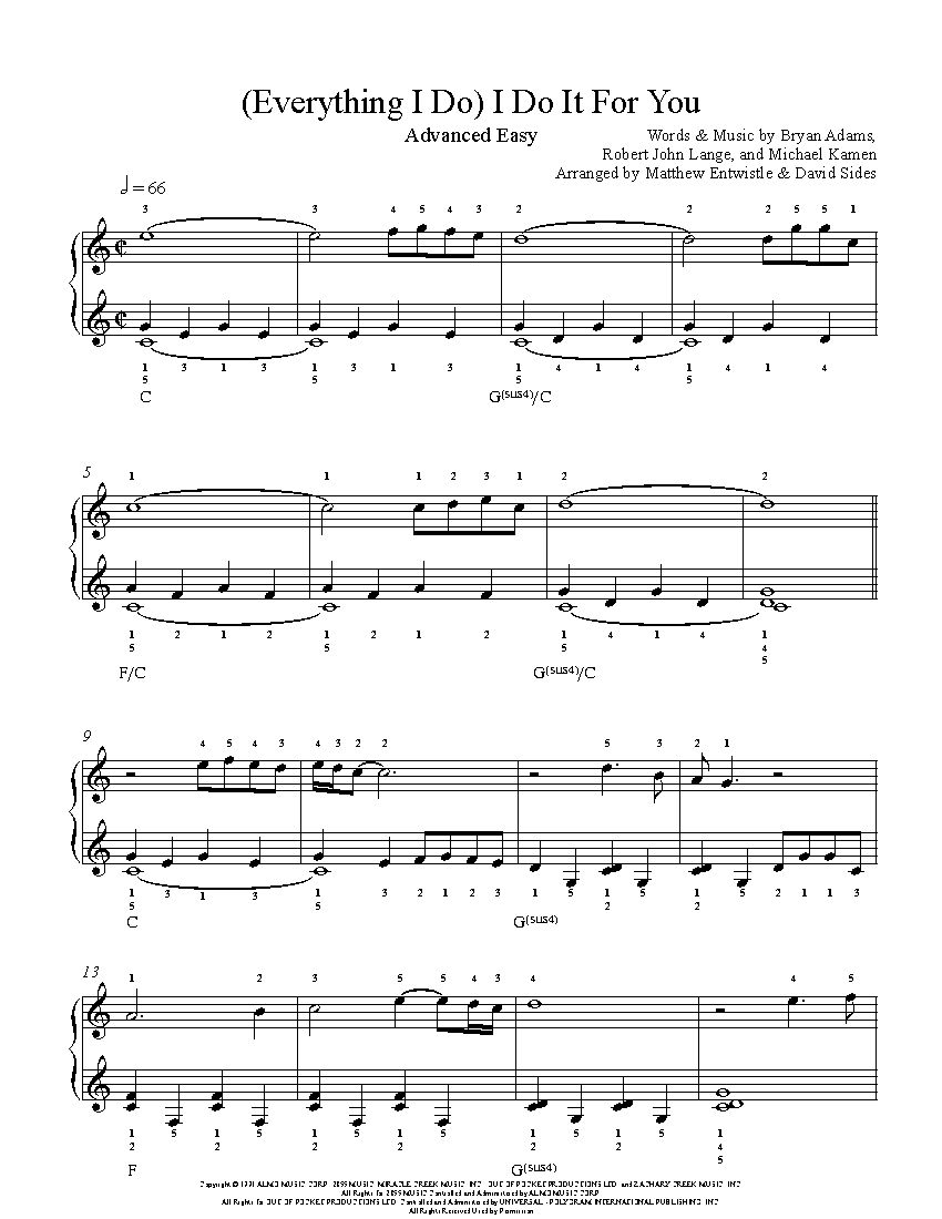 Everything I Do I Do It For You By Bryan Adams Piano Sheet Music