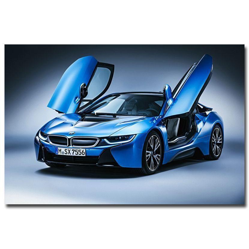 Awesome 8x12 0335A BMW I8 Blue Supercar Print Art Silk Poster 2017 2018