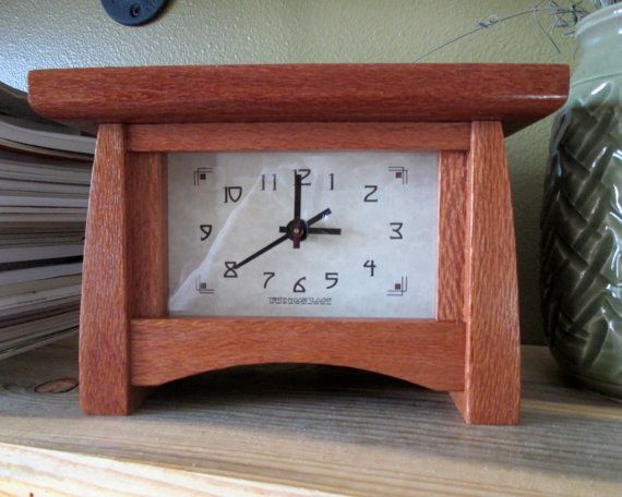 Mantel Clock Wood Clock Bungalow Clock Craftsman Clock Lace