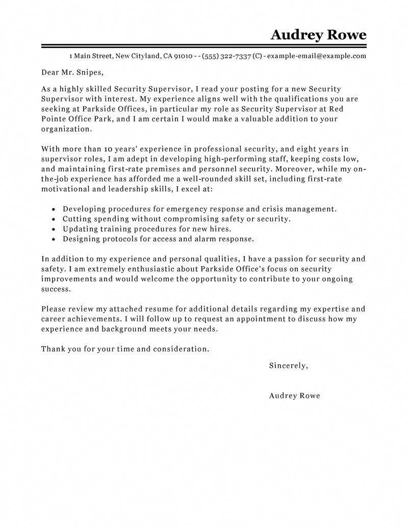 Security Supervisor Cover Letter Sample | Know The Basics ...