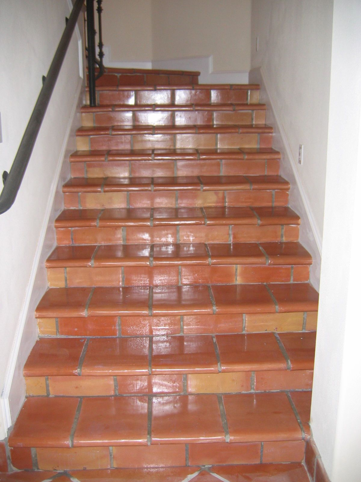 Tiled Stairs Saltillo Stair And Pool Copings Ideas For