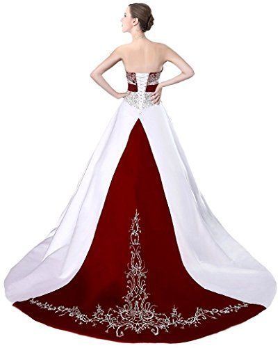889a951b5ee Snowskite Womens Strapless Satin Embroidery Wedding Dress Bridal Gown