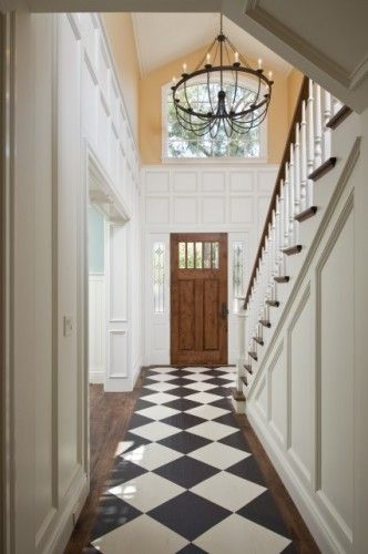 Entryways Doors Entryways Checkered Floors Foyer Chandelier