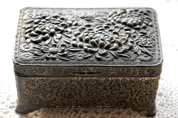 antique French jewelry box vintage jewelry casket heavy embossed