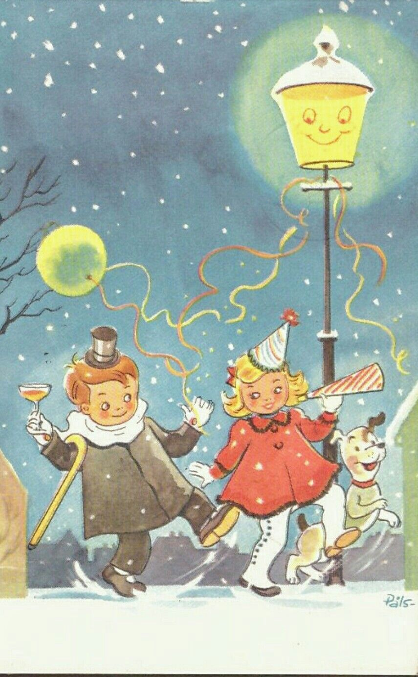 Påls- sign. Festglade unger. Kortforlaget . Stemplet 1961