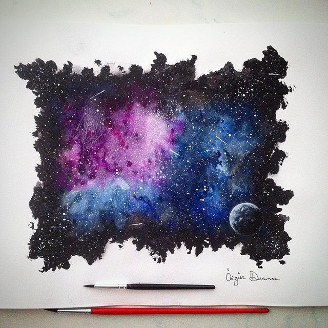 Mulpix Watercolour Painting Purple And Blue Space Hope You Like