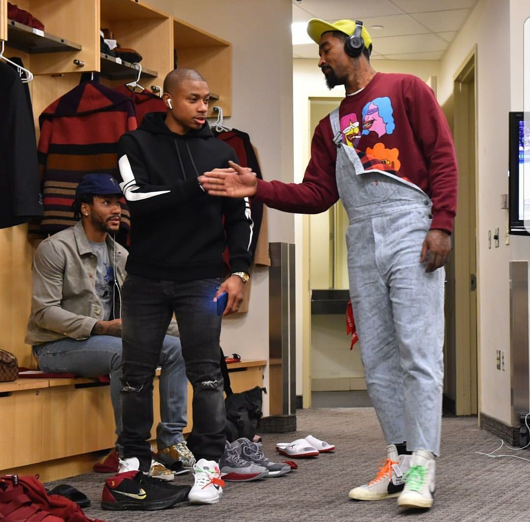 JR Smith and Isaiah Thomas with the off white nikes