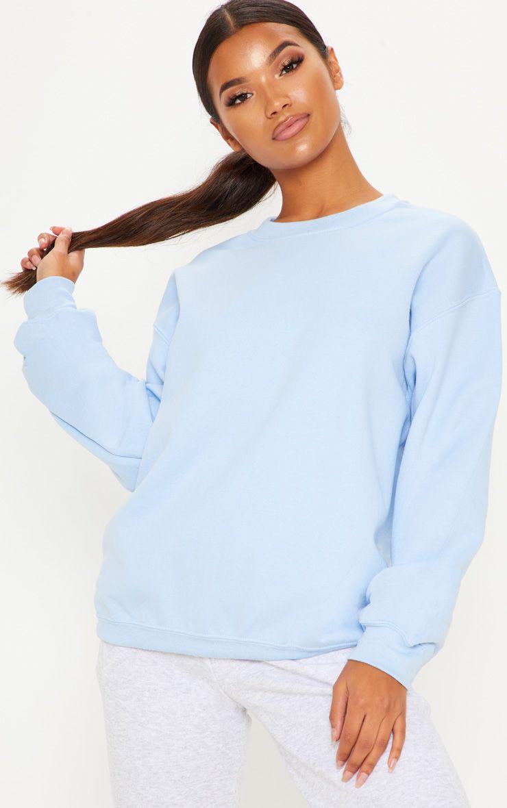 Light Blue Ultimate Oversized Sweater Cute Crop Tops