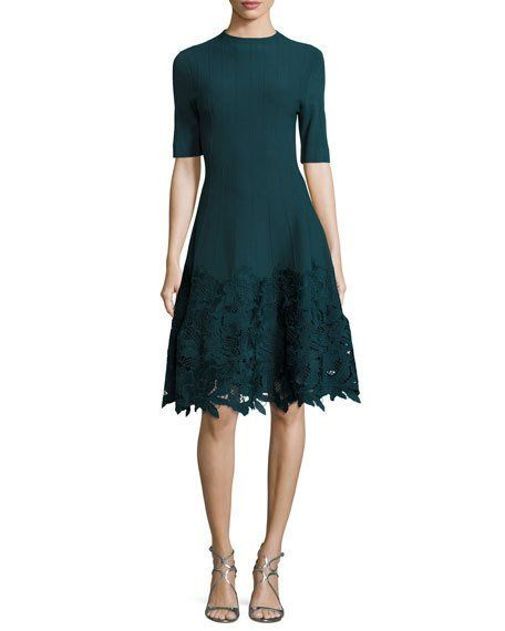Ottoman Knit Dress with Lace Hem  5cf69bdac