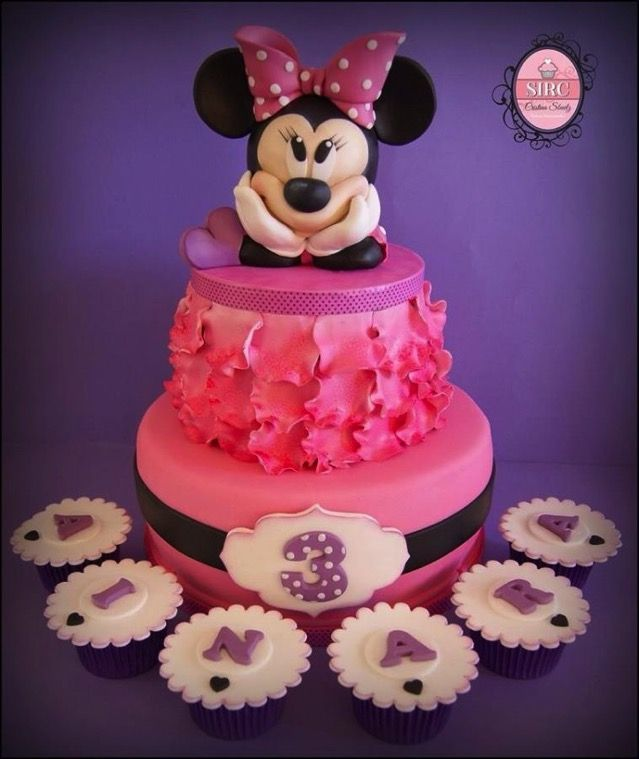 Miraculous Splendid Minnie Mouse Third Birthday Cake And Cupcakes Cupcake Funny Birthday Cards Online Inifofree Goldxyz