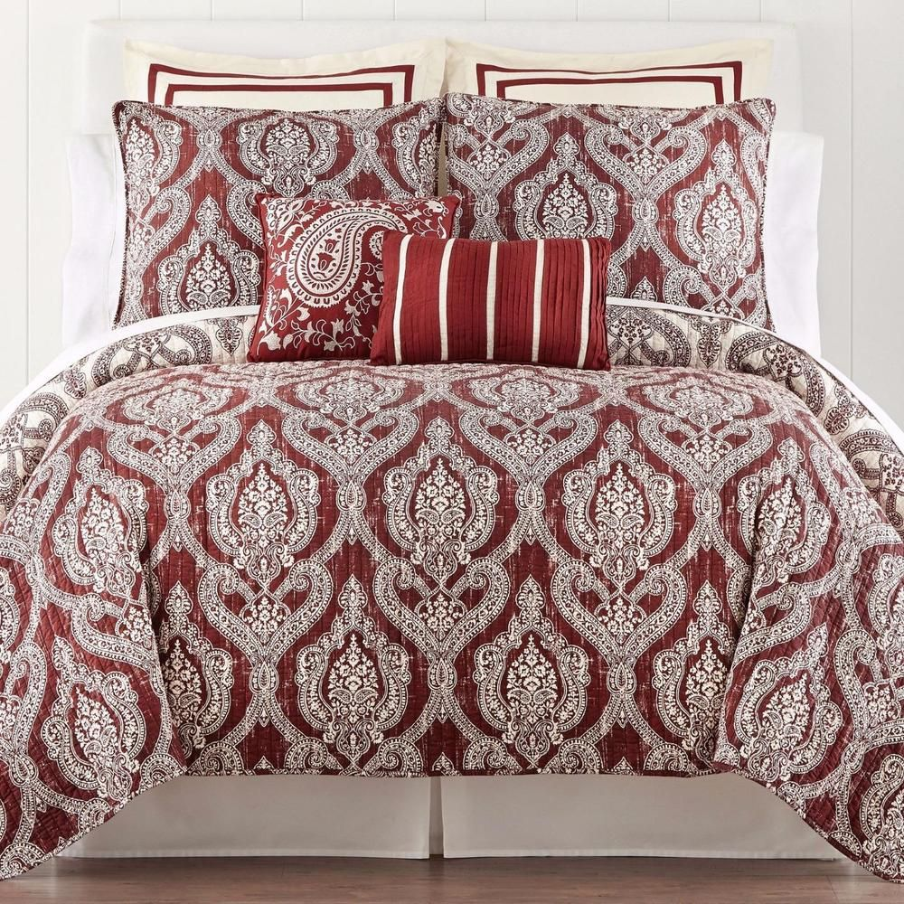 new jcpenney twin galloway medallion reversible quilt garnet cotton coverlet nwt jcpenney