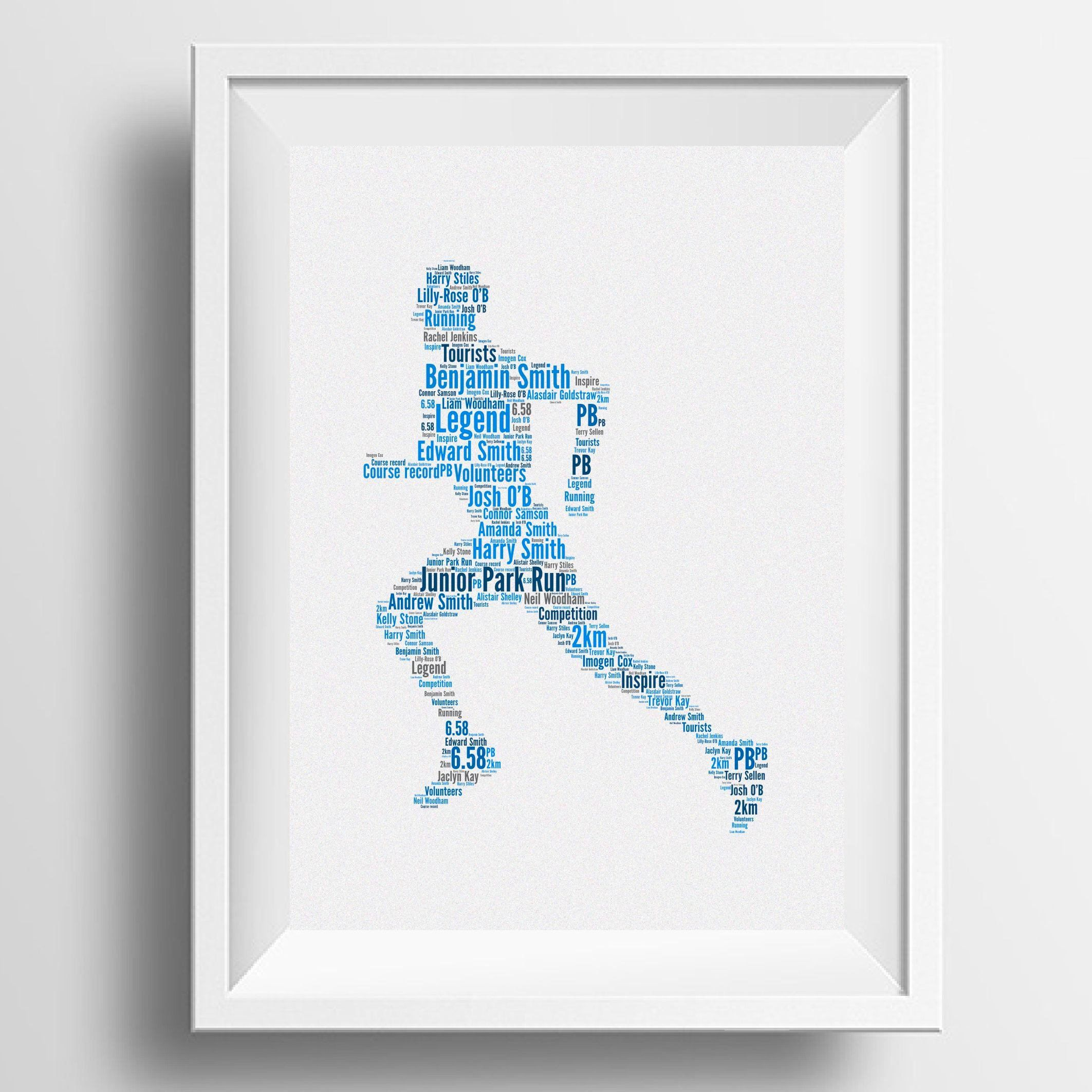 Personalised Word Art Male Runner Image Typography Gift Idea For Christmas Birthday Marathon By