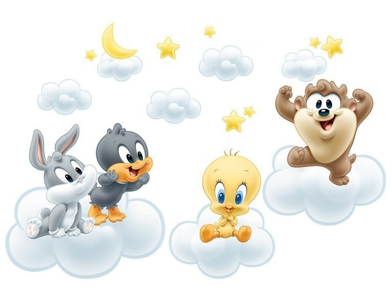 Ideal Wandtattoo Baby Looney Tunes auf Wolken
