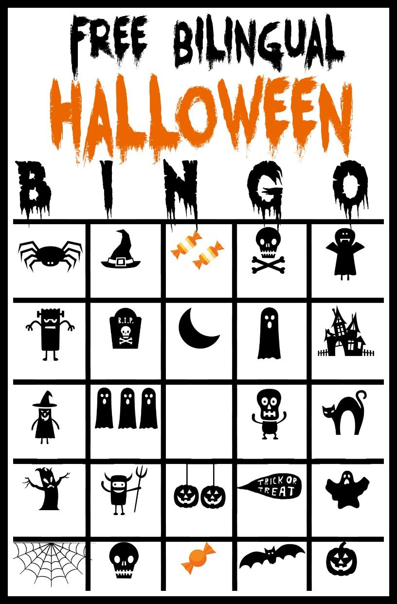 Free Printable Bilingual Halloween Bingo game Halloween