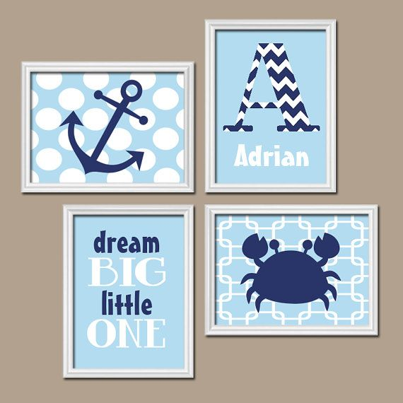 Nautical Wall Art Nursery Canvas Artwork Boy Child Sea Ocean Crab Anchor Dream Navy