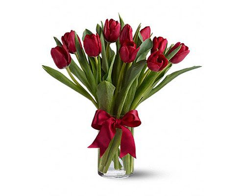 Why Hello There Style Red Tulips Bouquet Valentines Flowers Red Tulips