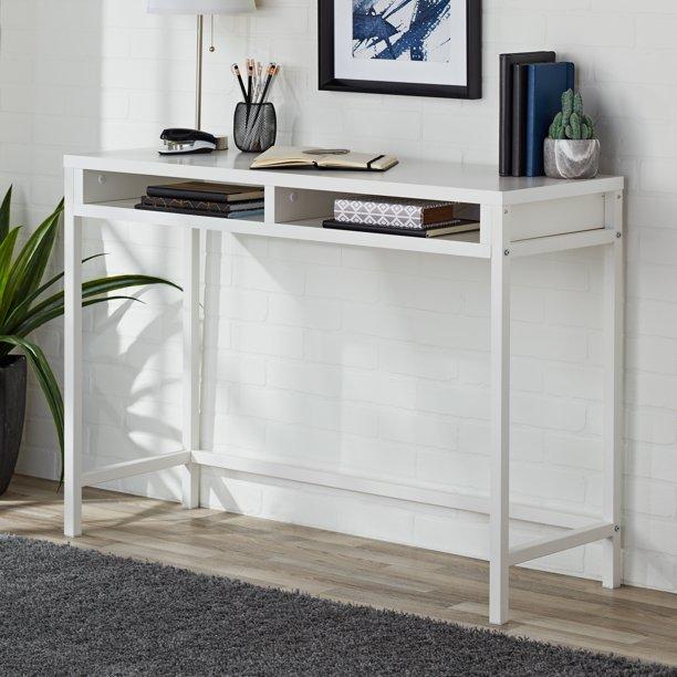 Mainstays Sumpter Park Open Shelf Wall Desk White Walmart Com In 2020 Open Shelving Wall Shelves Wall Desk