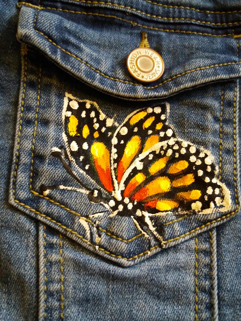 Monarch Butterflies, Hand Painted Jean Jacket, Butterfly Jacket, Monarch Butterfly, Handpainted Jacket, Jean Jacket Monarch Butterfly Jacket